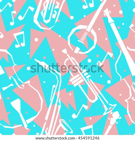 Seamless background with stylized musical instruments. Musical instruments seamless pattern. Jazz seamless pattern. Musical instruments collage - stock vector