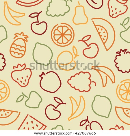 Seamless background with stylized outlines of the vegetables and avocado - stock vector