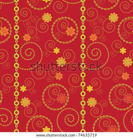 Seamless background with swirls and flowers