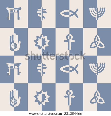 seamless background with symbols of religion - stock vector