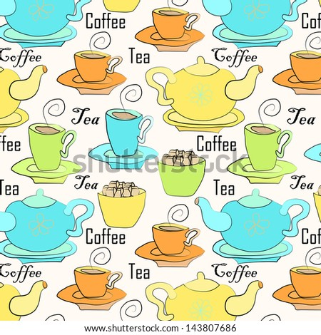 Seamless background with tea and coffee, vector illustration - stock vector