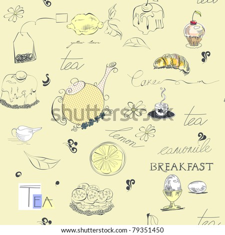Seamless background with tea set element - stock vector