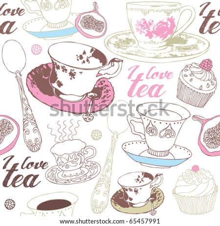 seamless background with tea , vector illustration - stock vector