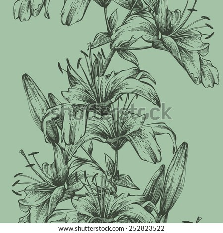 Seamless background with tiger lilies, hand-drawing. Vector illustration. - stock vector