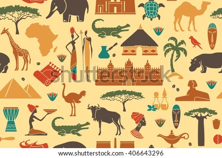 Seamless background with traditional symbols of Africa - stock vector