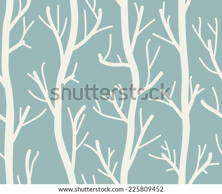 Seamless background with trees on white . Vector illustration - stock vector
