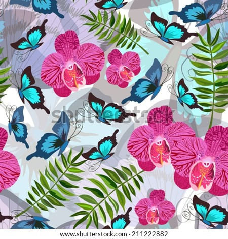 Seamless background with tropical butterflies - stock vector