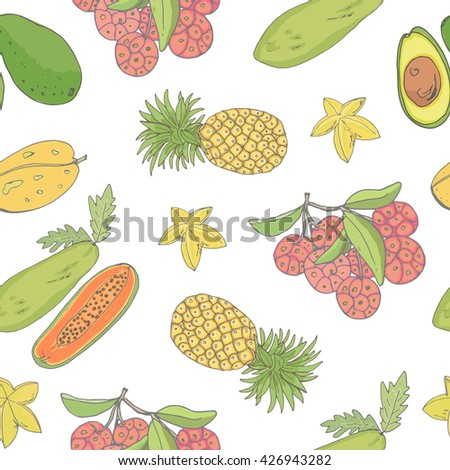 Seamless background with tropical fruits. Bright vector background for your design.
