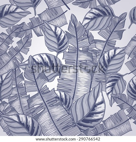 Seamless background with tropical tropical leaves