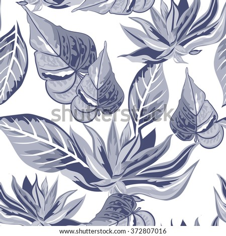 Seamless background with tropical tropical leaves - stock vector