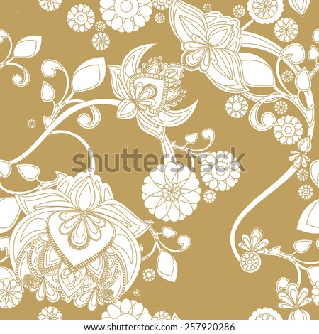 Seamless background with vintage floral pattern. - stock vector