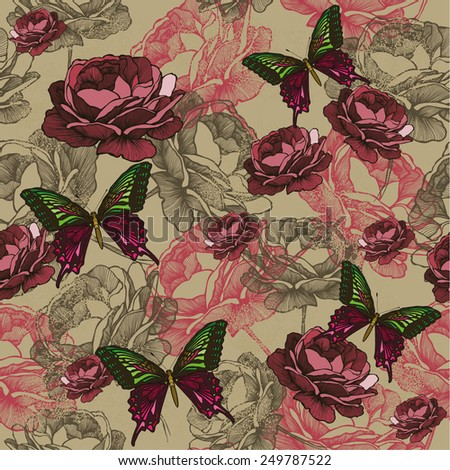 Seamless background with vintage roses and butterflies, hand-drawing. Vector illustration. - stock vector