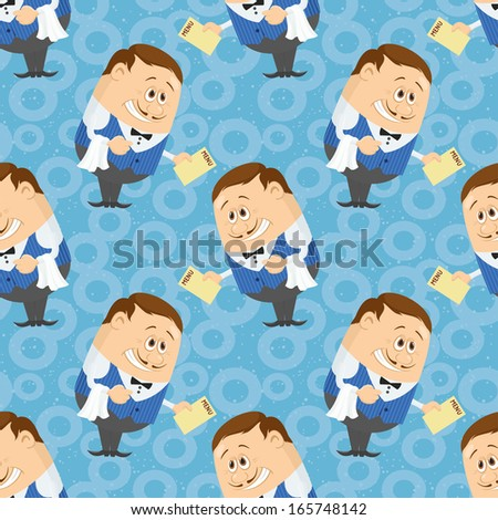 Seamless background with Waiters with menu, cartoon characters on blue background with abstract pattern. Vector - stock vector