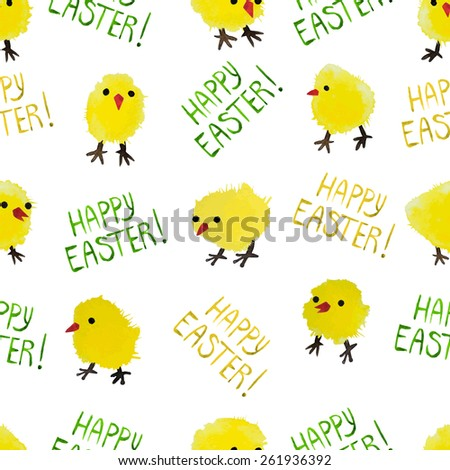 Seamless background with watercolor chickens and lettering. Happy Easter day vector pattern. Perfect for greetings, invitations, manufacture wrapping paper, textile, web design. - stock vector