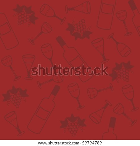 seamless background with wine bottle and glasses - stock vector