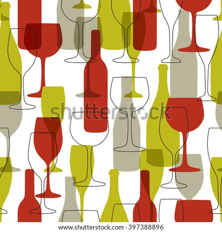Seamless background with wine bottles and glasses. Bright colors wine pattern for web, poster, textile, print and other design