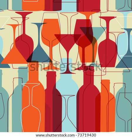 Seamless background with wine bottles and glasses. Bright colors wine pattern for web, poster, textile, print and other design - stock vector