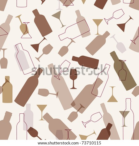 Seamless background with wine glasses and bottles - stock vector