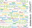 "Seamless background with words ""Hello!"" in different languages - stock photo"