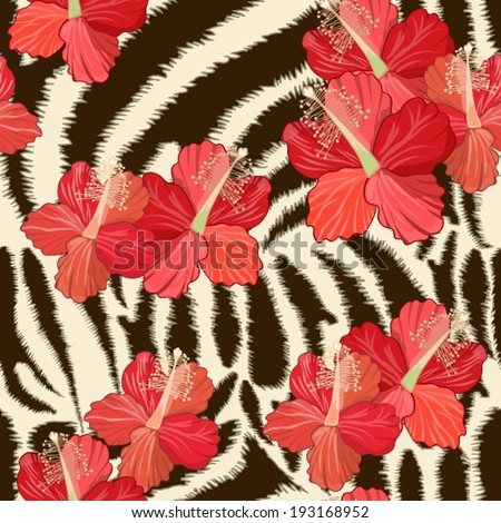 Seamless background with zebra skin and hibiscus flowers - stock vector