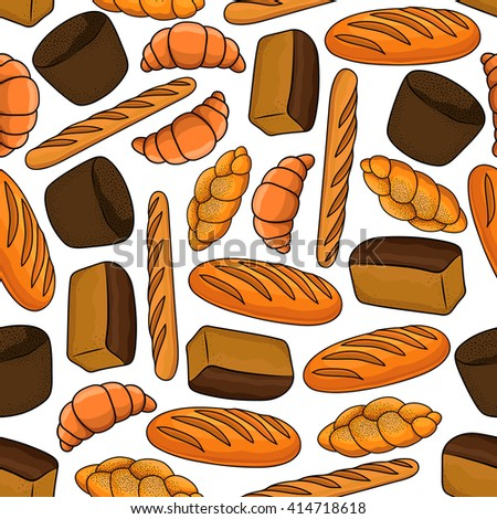 Seamless Bakery And Pastry Pattern On White Background With Cartoon Healthy Rye Wholegrain Bread
