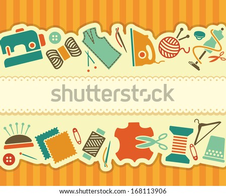 Seamless banner on a sewing theme in vintage style - stock vector