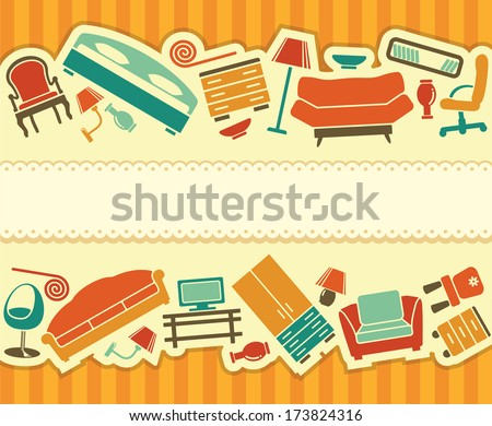 Seamless banner with furniture the equipment for an interior - stock vector