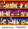 Seamless Bar or Pub Shelves with lots of alcohol drinks and glasses, vector - stock vector