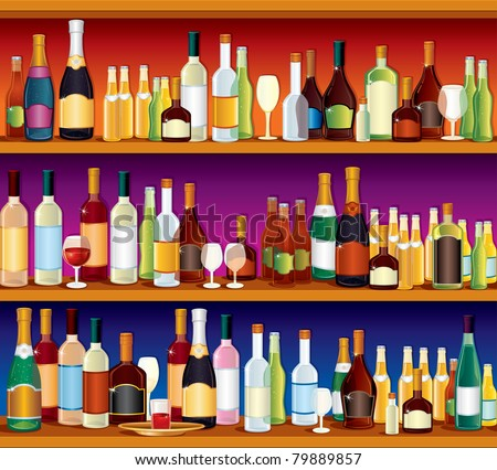 Seamless Bar or Pub Shelves with lots of alcohol drinks and glasses, vector