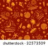 Seamless Beach Vector 2-color Pattern with sand, palms, stars and shells - stock vector