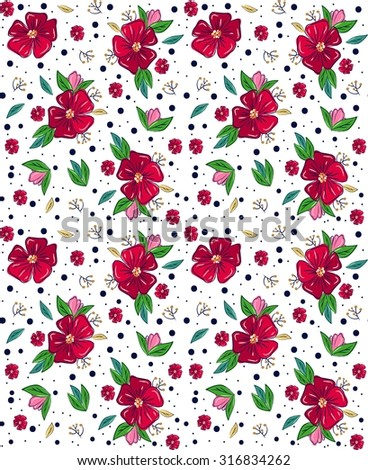 Seamless beautiful flower pattern on white background - stock vector