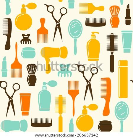 Seamless beauty salon background  - stock vector