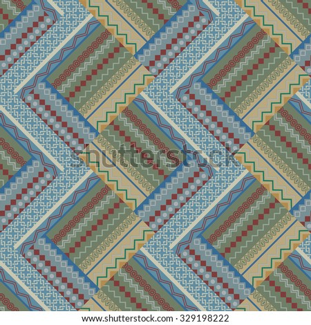 Seamless beige and blue patch vintage vector pattern. - stock vector