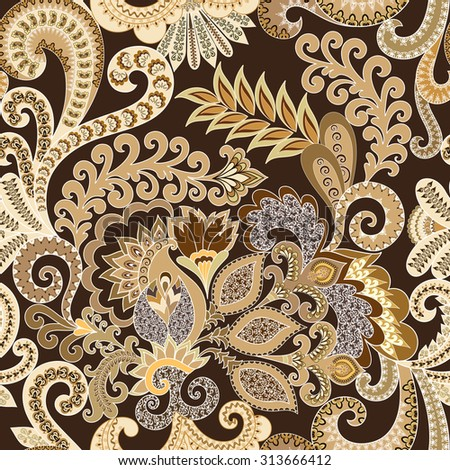 Seamless beige paisley pattern decorated with small ornaments on a dark brown background