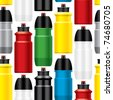 Seamless bicycle water bottles pattern - stock vector