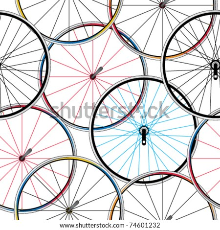 Seamless bicycle wheels pattern - stock vector