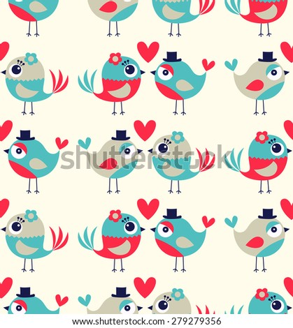 seamless birds love colorful cute background - stock vector
