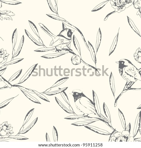 Seamless birds pattern. Floral vector background - stock vector