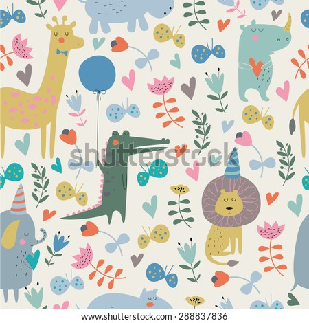 Seamless birthday background with cute alligator, bird, giraffe, hippo, rhino, elephant, lion, butterflies and flowers in cartoon style