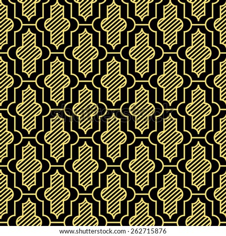 Seamless black and gold vintage moroccan pattern vector - stock vector