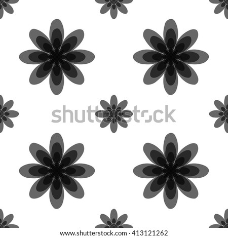 Seamless black and white abstract flower pattern