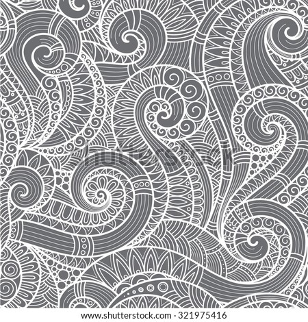 Seamless  black and white  abstract hand-drawn pattern, waves background. Doodle  Illustration Design  - stock vector