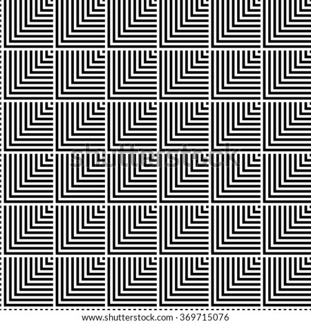 Seamless black and white abstract modern pattern created from square intersections