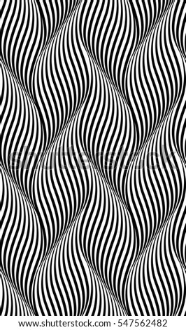 Seamless Black and White Abstract Waves Background.