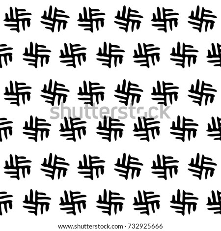 seamless black and white background pattern fashion textile wallpaper with abstract ethnic elements like boho or african style.