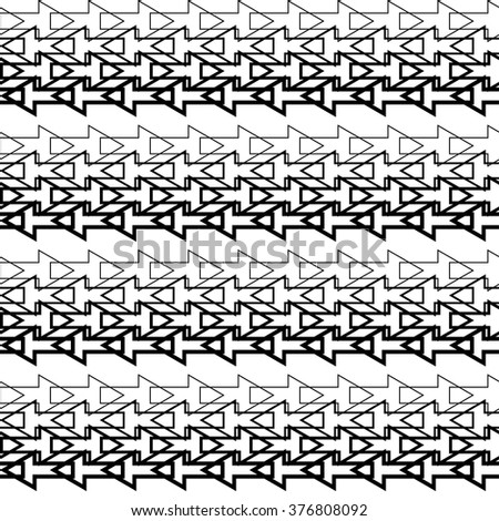 Seamless black and white decorative vector background with arrows. Print. Repeating background. Cloth design, wallpaper.
