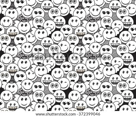 Seamless black and white doodle pattern with fun positive emoticon expressions. Smile, wink, angel, surprised, in love, laugh smileys included - stock vector