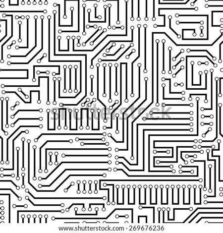 Seamless black and white electronic plate pattern vector. Circuit board vector illustration. Futuristic background. Electrical scheme. Technology seamless background with pattern in swatches - stock vector