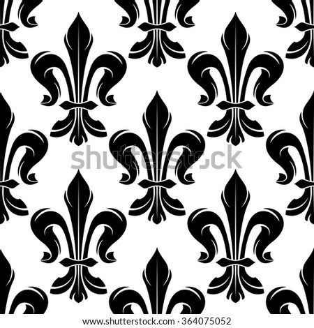 Seamless Black White Fleurdelis Pattern Elegant Stock Vector