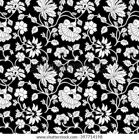 Seamless Black White Floral Pattern Stock Vector 397714198 ...